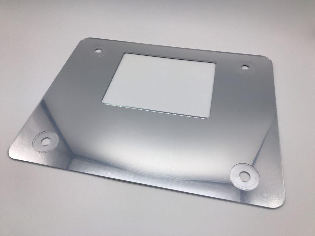 ハードコートアクリルにシルク印刷にてシルバー印刷の商品↑    ※サイズ 厚み3mm×300mm×300mm